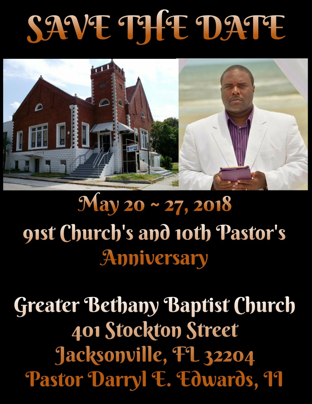 SAVE THE DATE ~ CHURCH AND PASTOR'S ANNIVERSARY KICK OFF!